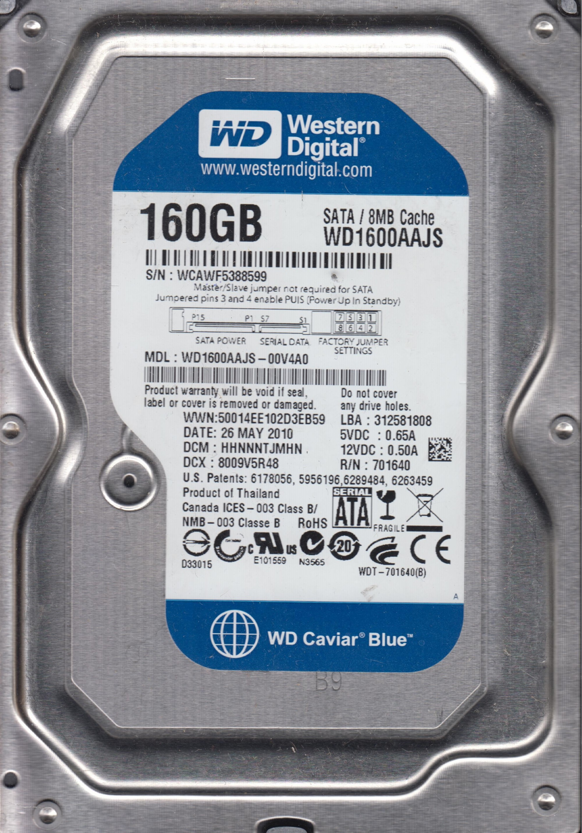 Wd1600aajs Sata Driver Hdd 320 Gb Wd Blue 35 Our Whisperdrive