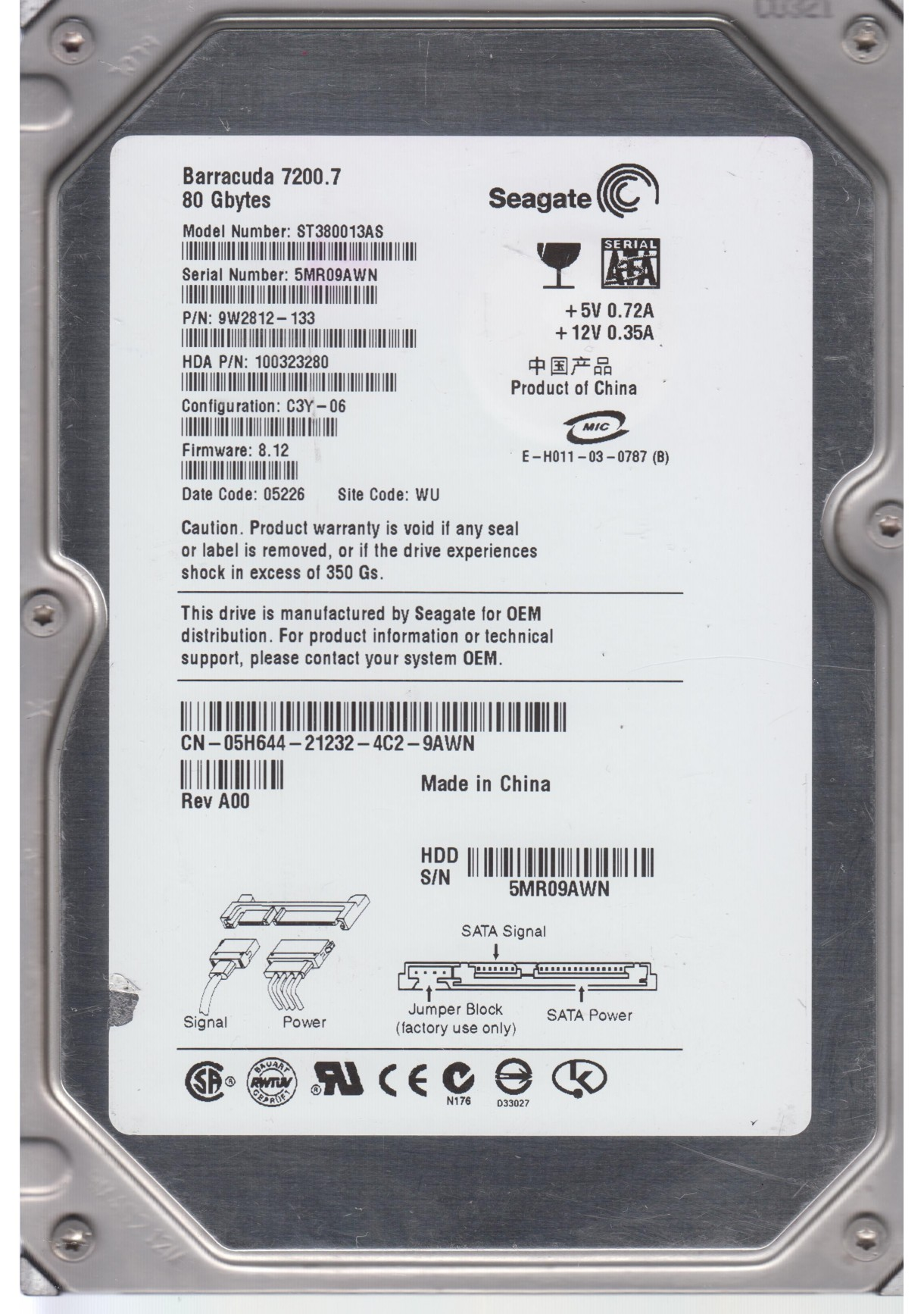 SEAGATE ST380013AS FW 8.12 9W2812-133 80GB 3.5