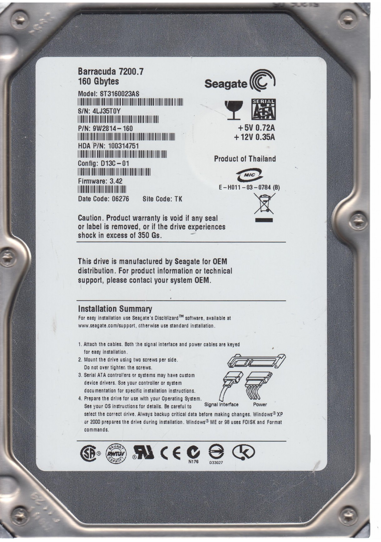 SEAGATE ST3160023AS FW 3.42 160G 3.5