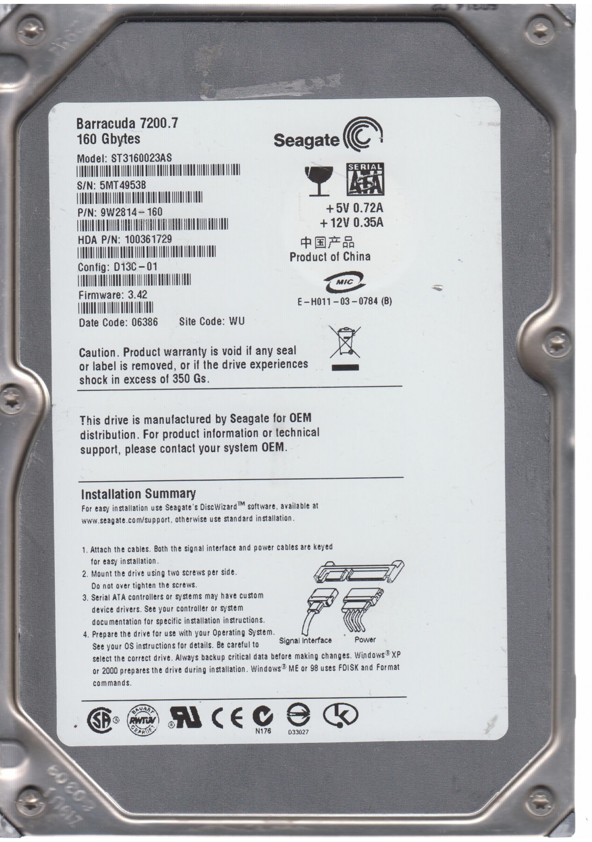 SEAGATE ST3160023AS FW3.42 160GB 3.5
